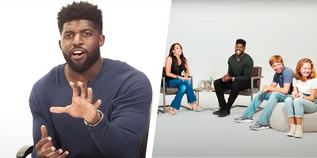 emmanuel acho talking next to acho talking with a family on his podcast