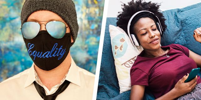 a diptych of joe arden, romance audiobook narrator, and a woman with headphones on
