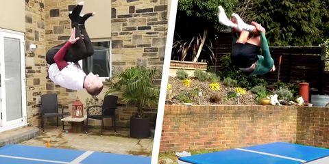 Two gymnasts complete the 1,000 backflips challenge