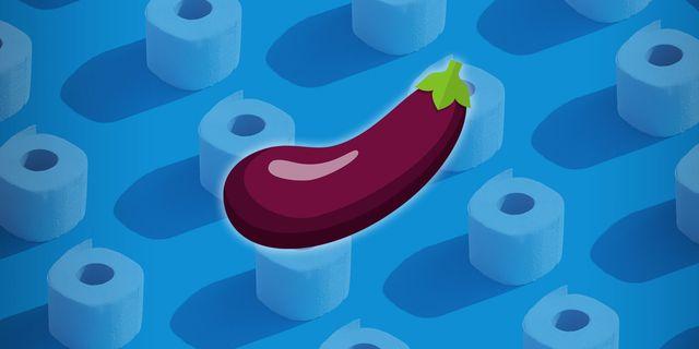 eggplant illustration hovering over toilet paper illustration
