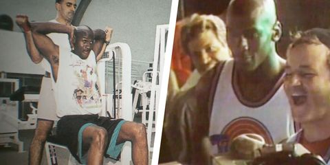 michael jordan on the set of space jam working out training and with bill murray, as seen in the last dance