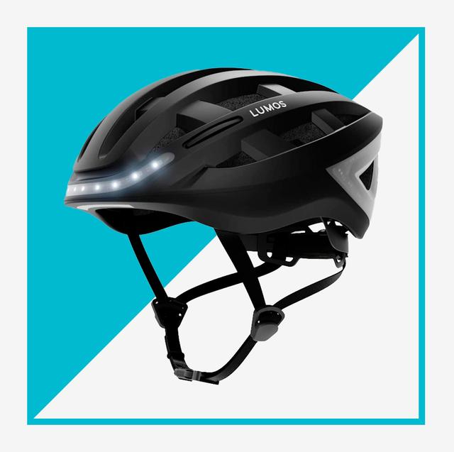 black helmet with lights and neon yellow bike helmet