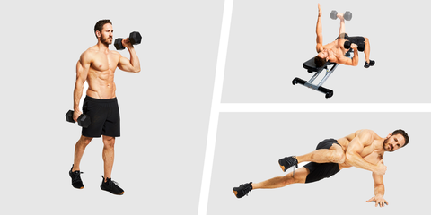 Weights, Exercise equipment, Shoulder, Arm, Dumbbell, Chest, Joint, Abdomen, Muscle, Fitness professional,