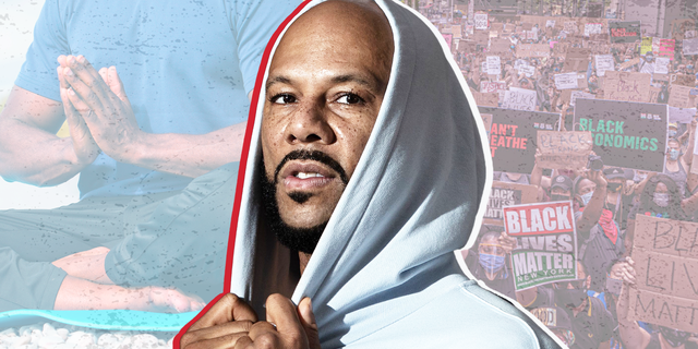 common in a hoodie with a background of man in lotus pose and black lives matter signs