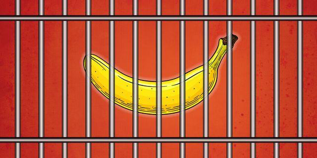a banana behind bars, representing a chastity cage