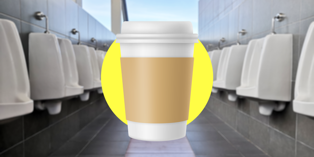 takeout coffee cup illustration highlighted in center of bathroom flanked with urinals