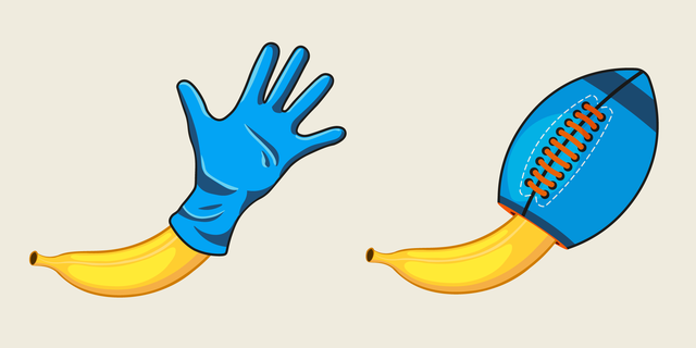 two bananas, one in a latex glove and the other in a football