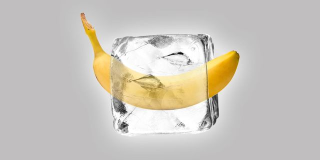 ice block with a banana in it