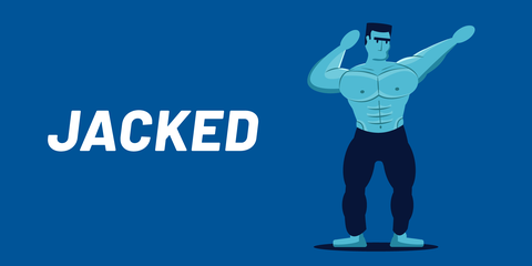 Standing, Arm, Muscle, Logo, Physical fitness, Electric blue, Illustration, Bodybuilding, Fictional character,