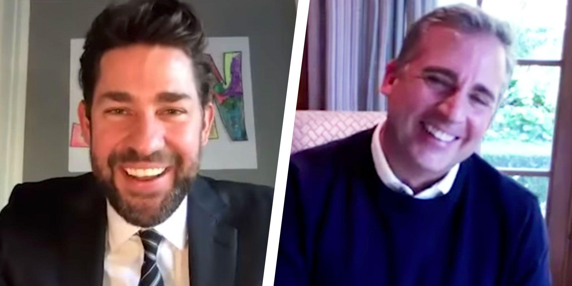 John Krasinski and Steve Carell Reunite Virtually for an Office Reunion