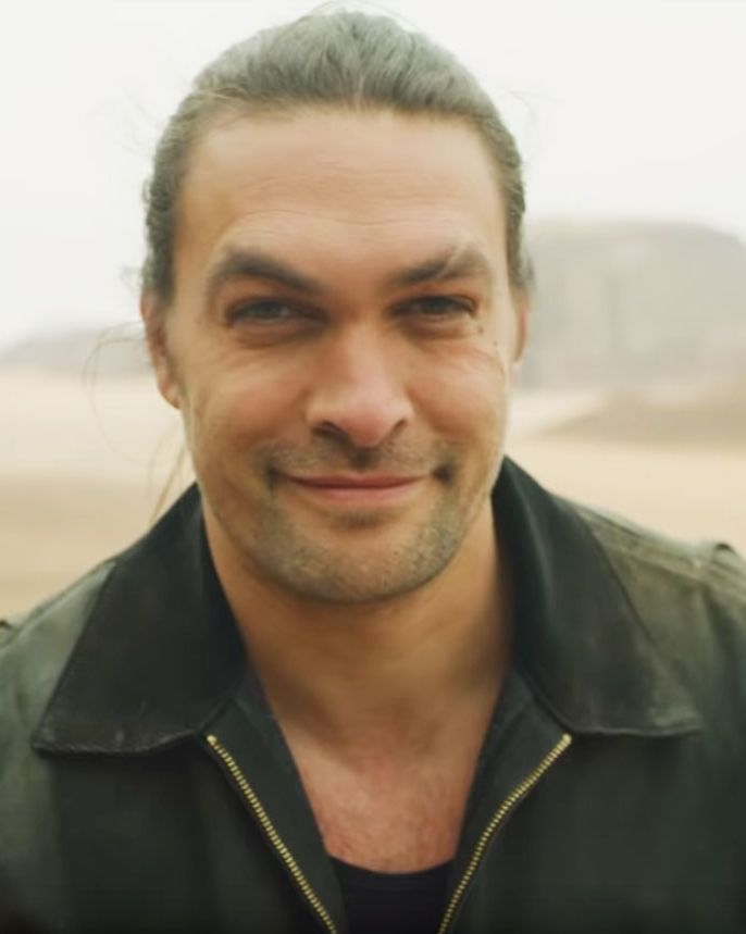 Jason Momoa (without beard) Momoa shaved in order to draw attention to wasteful single-use plastics.