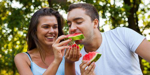 eating organic watermelon