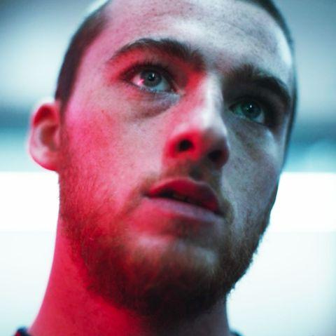 Face, Hair, Facial hair, Nose, Red, Head, Forehead, Cheek, Eyebrow, Chin,