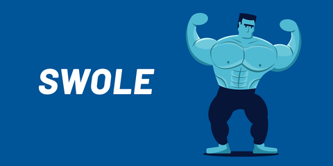 Bodybuilding, Weightlifting, Physical fitness, Muscle, Logo, Illustration, Font, Fictional character, Powerlifting, Graphic design,