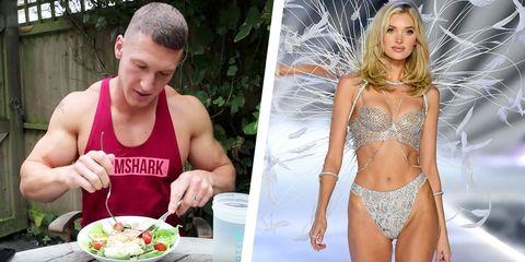Eating, Bikini, Food, Muscle, Dish, Swimwear, Cuisine, Meal, Abdomen, Undergarment,