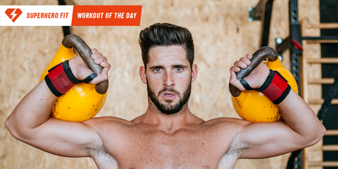 Kettlebell, Weights, Barechested, Muscle, Arm, Chest, Exercise equipment, Joint, Abdomen, Sports equipment,