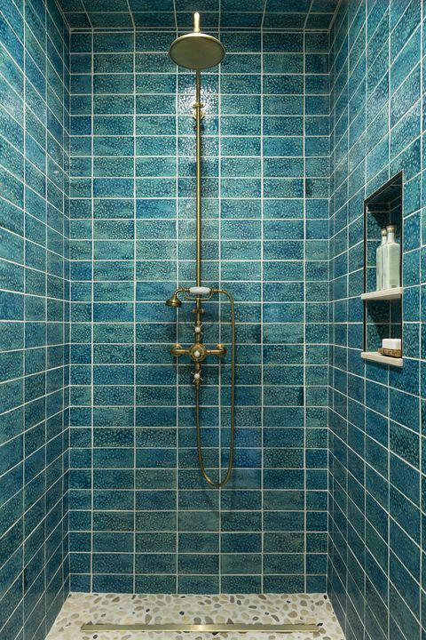 Tile, Bathroom, Blue, Shower panel, Room, Shower, Wall, Plumbing fixture, Architecture, Flooring,