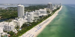 USA, Florida, Miami, vista aérea de la costa