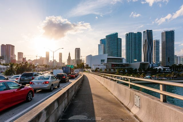 miami downtown skyline seen from a highway, florida, usa