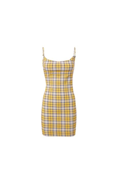 Clothing, Plaid, Yellow, Pattern, Tartan, Dress, Cocktail dress, Beige, Design, Day dress,