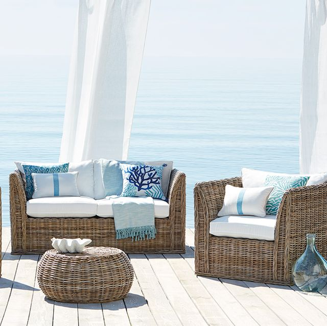 Furniture, Blue, Wicker, Room, Coffee table, Property, Interior design, Table, Azure, Living room,