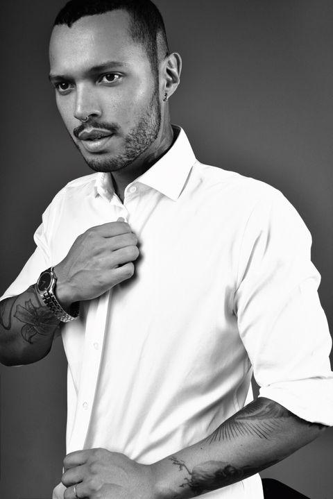 White, Photograph, Black-and-white, Chin, Model, Dress shirt, Cheek, Facial hair, Arm, Monochrome photography,