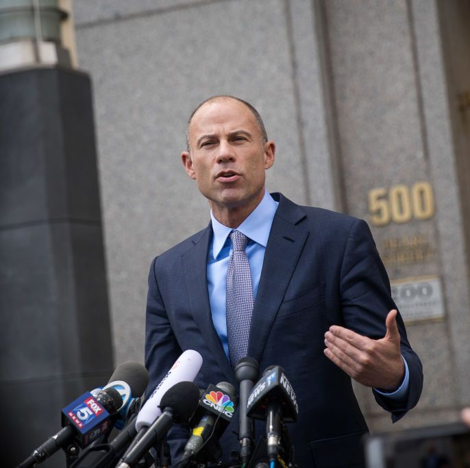 Michael Avenatti speaks to reporters outside a New York City courthouse in 2018. Avenatti had just emerged from a hearing involving his client Stormy Daniels.