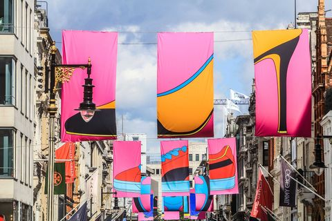 Royal Academician Michael Craig-Martin's installation of flags on Bond Street for Art in Mayfair