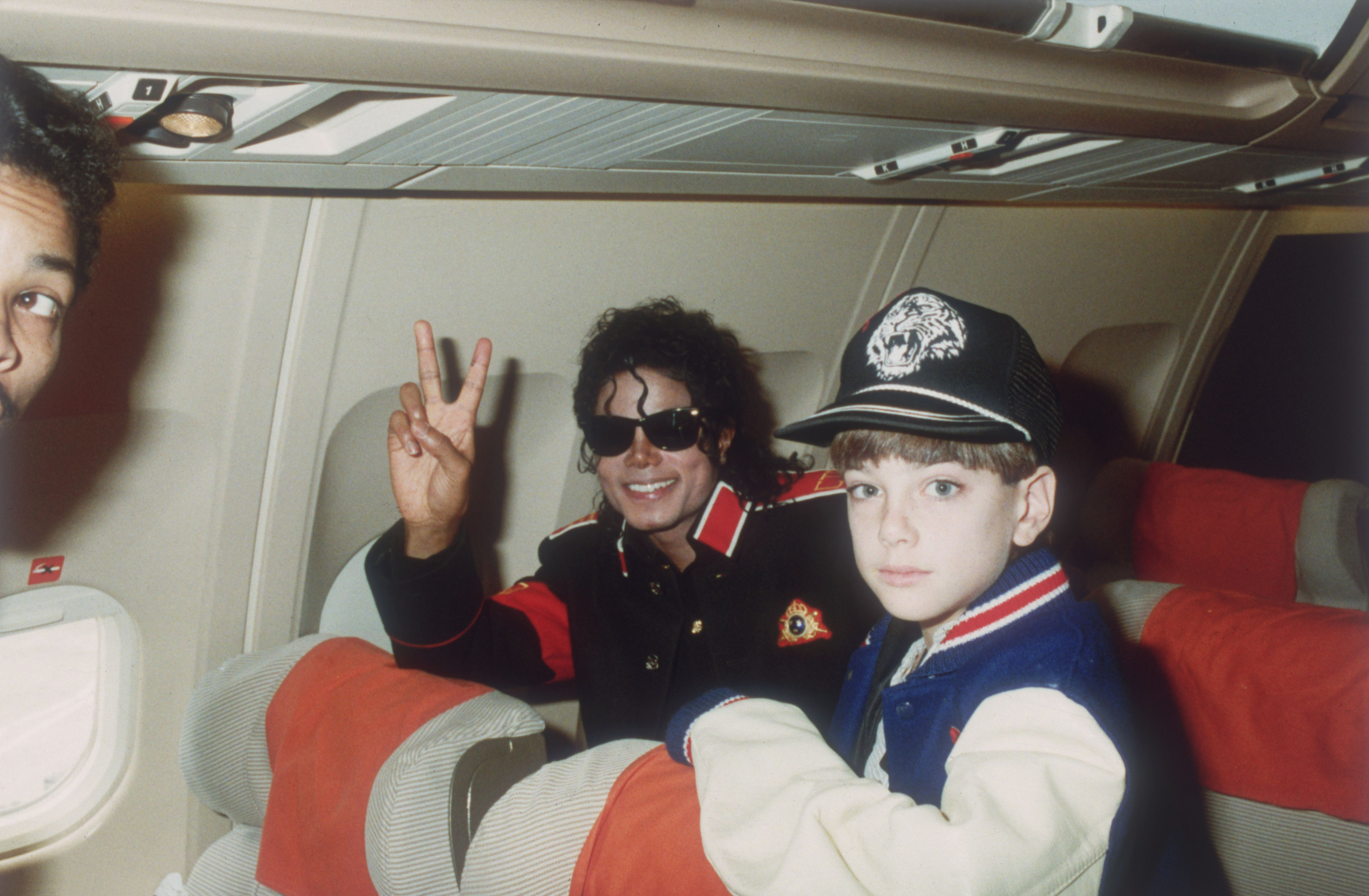 Michael Jackson with 10 year old Jimmy Safechuck on the tour plane...