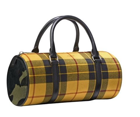 Handbag, Bag, Yellow, Fashion accessory, Brown, Plaid, Beige, Design, Tartan, Pattern,
