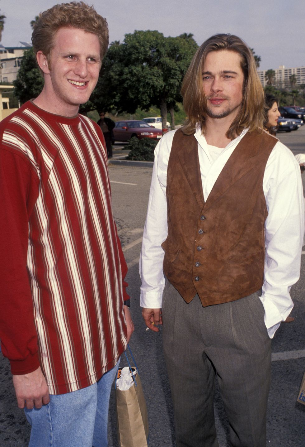 1993: And Another Hit Michael Rapaport poses with Pitt at the Independent Spirit Awards. The comedian and Pitt were part of the ensemble cast for Quentin Tarantino and Tony Scott's 1993 hit True Romance .