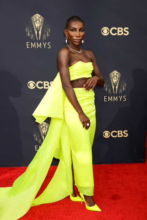 Michaela Coel's neon yellow Emmys outfit is stunning