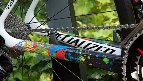 Rainbow splattered paint on Michal Kwiatkovski's bike