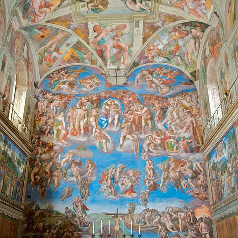 Fresco paintings by Michelangelo in the Sistine Chapel