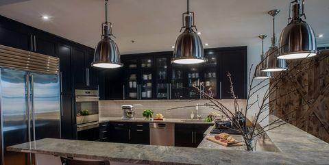 Interior design, Glass, Light fixture, Room, Interior design, Floor, Ceiling, Ceiling fixture, Plumbing fixture, Countertop,
