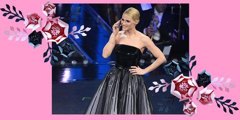 c5703df5829d Michelle Hunziker con due vestiti in uno di Giorgio Armani a Sanremo 2019
