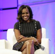 philadelphia, pa   october 03  former first lady of the united states michelle obama watches the surprise video message from her husband former president of the united states barack obama during pennsylvania conference for women 2017 at pennsylvania convention center on october 3, 2017 in philadelphia, pennsylvania  photo by marla aufmuthgetty images for pennsylvania conference for women