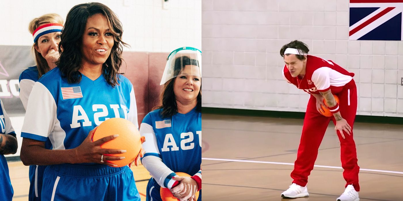 May I Present To You: Michelle Obama Hitting Harry Styles in the Balls With a Dodgeball