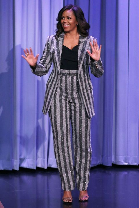 Michelle Obama striped suit