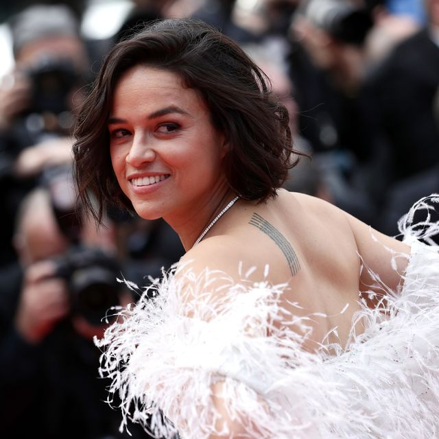 """cannes, france   may 21 michelle rodriguez attends the screening of """"once upon a time in hollywood"""" during the 72nd annual cannes film festival on may 21, 2019 in cannes, france photo by vittorio zunino celottogetty images"""