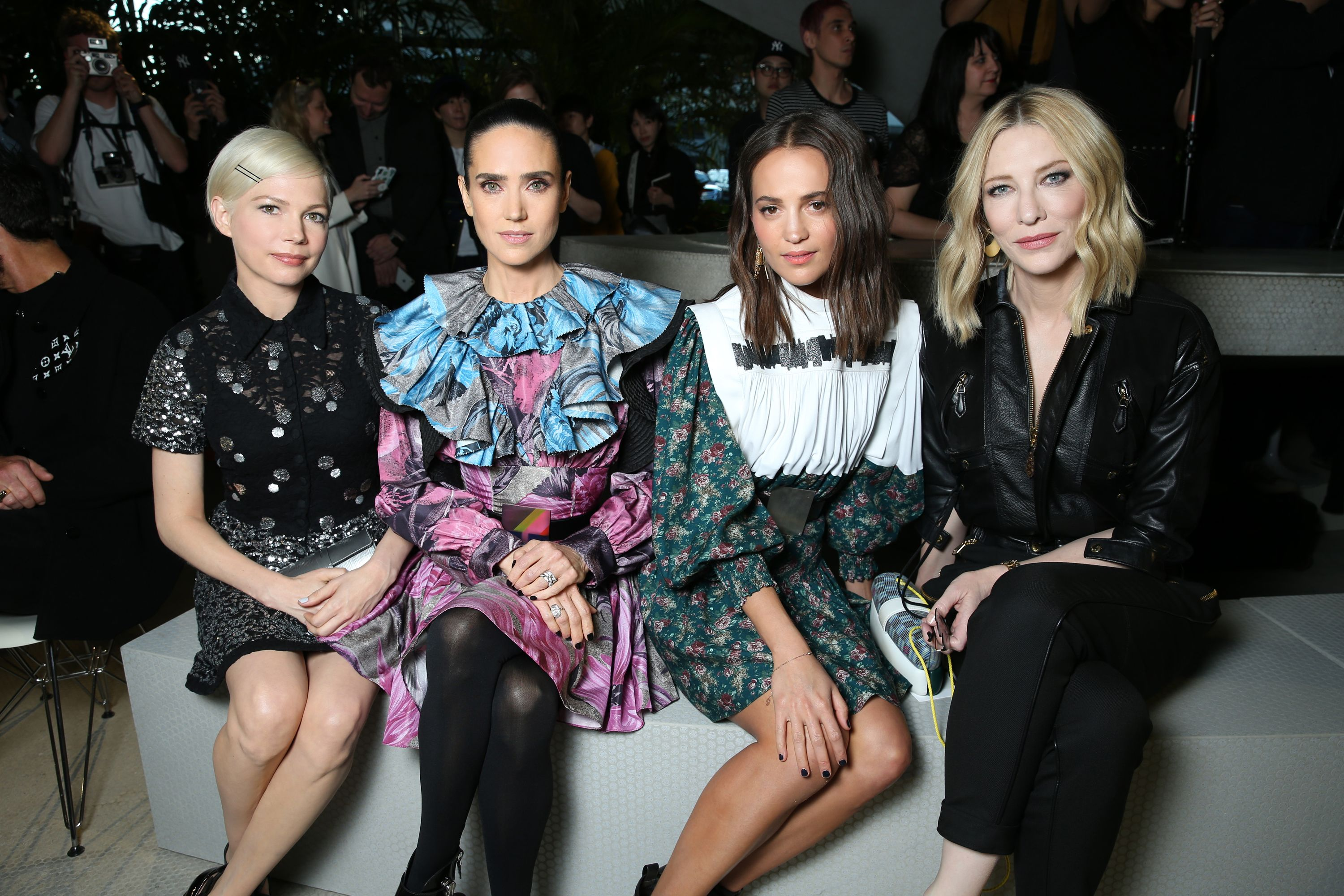 Michelle Williams, Jennifer Connelly, Alicia Vikander, and Cate Blanchett in the front row.