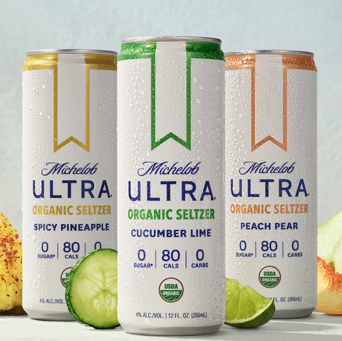 michelob ultra organize seltzer, cucumber lime, spicy pineapple, peach pear
