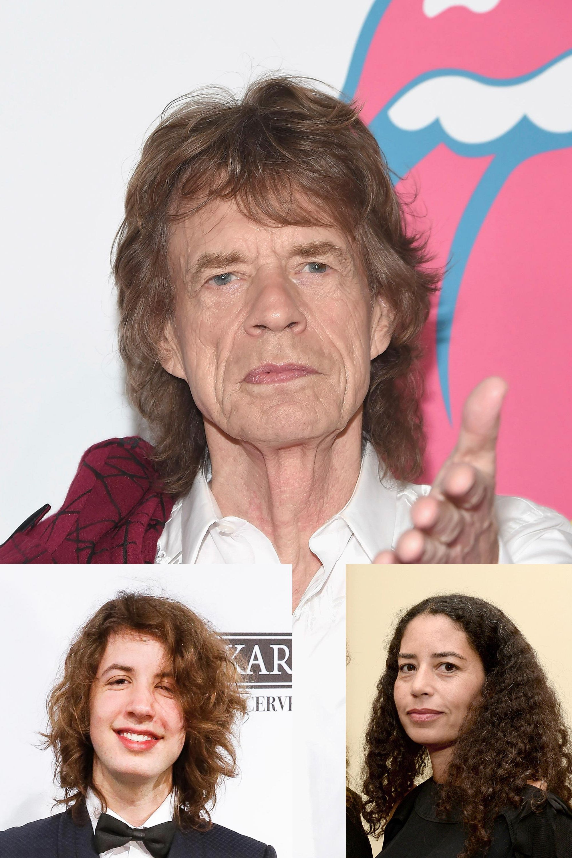 Mick Jagger y sus hijos Karis y Lucas Maurice