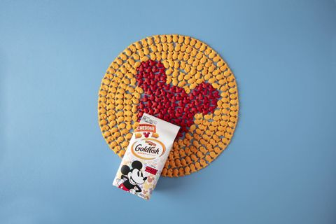 goldfish releasing mickey mouse crackers for his 90th birthday