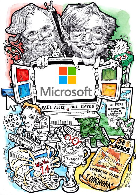 Microsoft Bill Gates y Paul allen caricatura