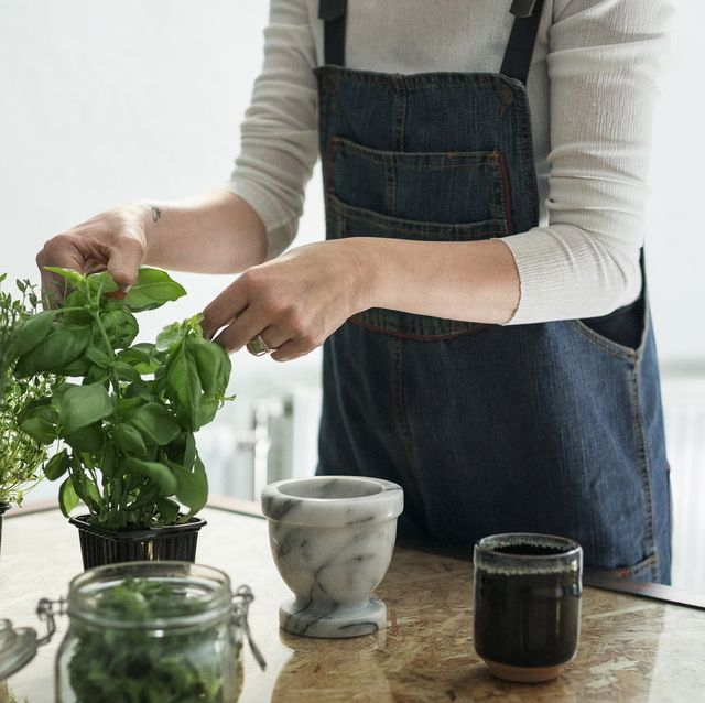mid section of person cutting herbs