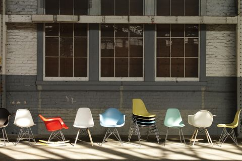 array of colorful shell chairs
