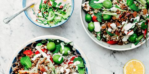 Middle Eastern Salad with Tzatziki Dressing (close-up)