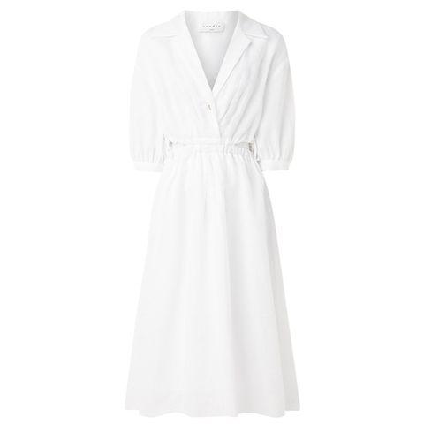 witte midi jurk van katoen van sandro via de bijenkorf