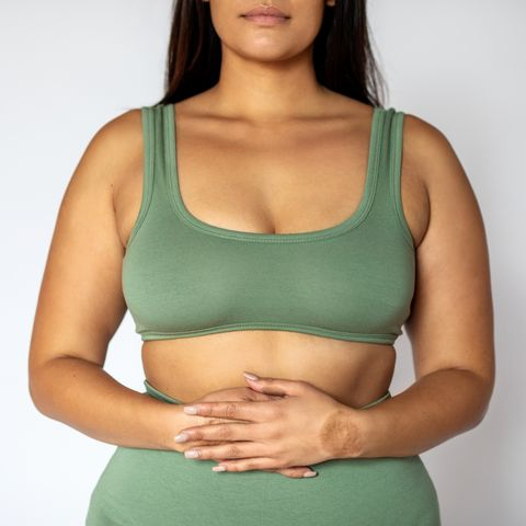 midsection of a fat woman in underwear